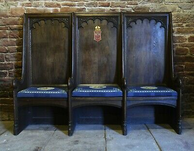 Antique church pew SEDILIA, ex Hull Minster, immense proportions, oak, Gothic