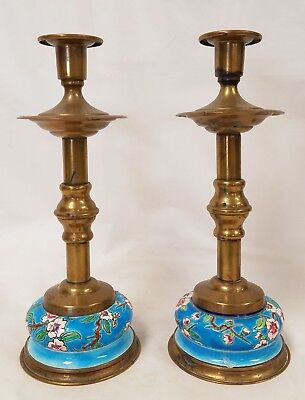 Pair Aesthetic Antique French Enamel on Porcelain and Brass Candlesticks