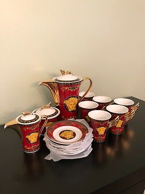 Beautiful Medusa Red 18 Piece Tea Set Never Used In Box