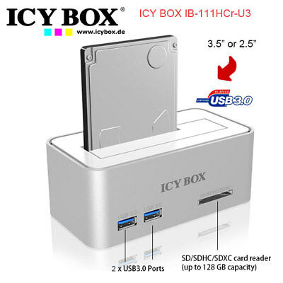 ICY BOX IB-111HCr-U3 Hard didk docking station for SATA HDDs and SSDs with USB