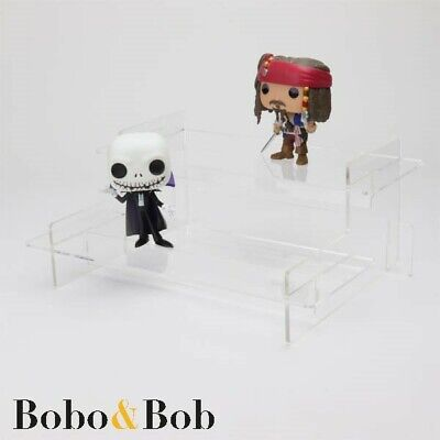 Funko Pop Tiered Display Stand, Pop Vinyls, Collectibles, Acrylic, Black Shelves