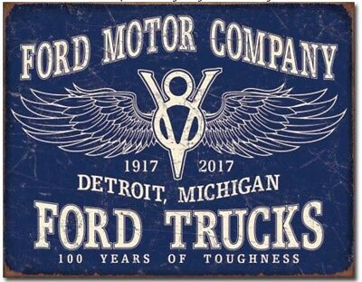 Ford 100 Years Metal Tin Sign Vintage Look V8 Home Wall Garage Shop Man Cave New