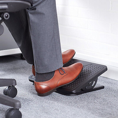Foot Rest Under Desk Adjustable Height Office Ergonomic Portable Comfort Black