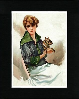 Pretty Lady Holding A French Bulldog Vintage Style Dog Art Print Ready Matted