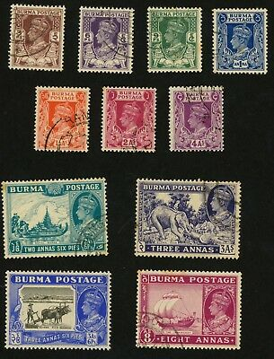 1946 Burma Stamps Scott #51-61 All:  Used, H (except #59 Mint, H)