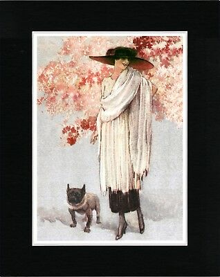 Elegant Lady And Her French Bulldog Vintage Style Dog Art Print Ready Matted