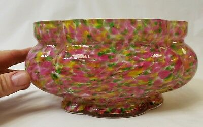 Heavy Antique Cased Spatter Glass Center Low Bowl