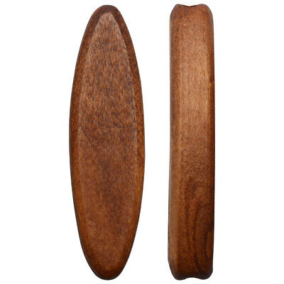 Smooth Wood Beads, Tapered Oval Slice 44x12mm, 4 Pieces, Light Brown