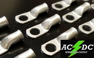 """(50) 4 AWG Ring 3/8"""" Hole Terminal Lug Tin Plated Copper Cable lug Gauge"""