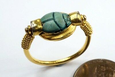 ANTIQUE 22K GOLD SWIVEL RING c1800's W/ ANCIENT EGYPTIAN FAIENCE SCARAB