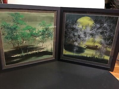 Japanese Woodblock Prints Set Of 2 Original Signed Beautiful Landscape Trees