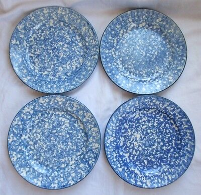 Stangl Pottery Town & Country Blue Sponge Ware Dinner Plate - Set Of 4