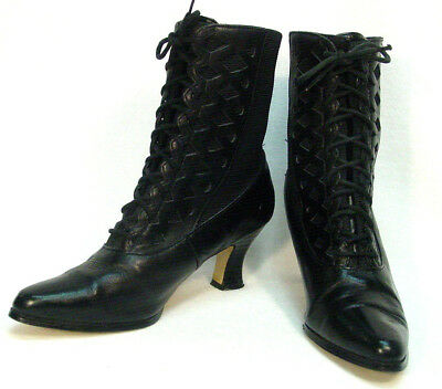 Victorian Edwardian Vintage granny style Leather Fabric Uppers Boots size 6