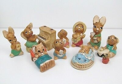 Lot of 9 Vintage Pendelfin Rabbit Figurines w/ Piano and Flower Pot