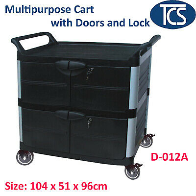 TCS Multi-Purpose Compact 3 Shelf Utility Trolley Cart with Lockable Compartment