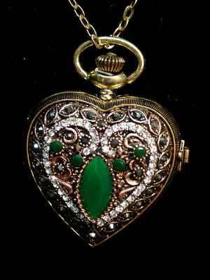 Vintage Victorian Style Pendant Reproduction watch on a chain antique brass tone