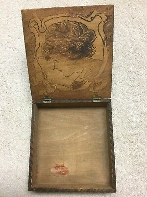 Vintage Hinged Wood Box With Carving On Lid