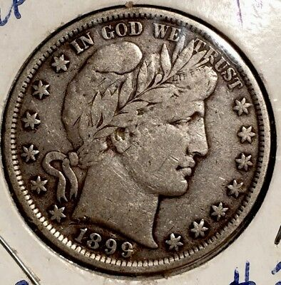 1899-P BARBER HALF DOLLAR - 90% SILVER COIN - only 5.5 million minted