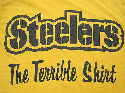 SOFT!! 70s vtg THE TERRIBLE T SHIRT towel PITTSBURGH STEELERS 50/50 EXTRA SMALL