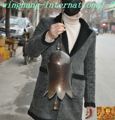 """22"""" Old Chinese Buddhism Temple Pure Bronze Hanging Pray Bell Zhong"""