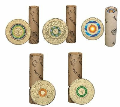 Set Of 5 $2 Coloured Coin Rolls Anzac Lest We Forget & Remembrance Ram