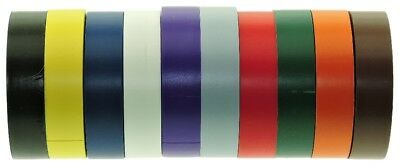 10 Color Coded Pack Electrical Tape UL 723 Codes Black Gray Blue Red Green White
