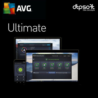 AVG Ultimate 2019 Unlimited Devices 1 Year Antivirus TuneUp Internet Security UK