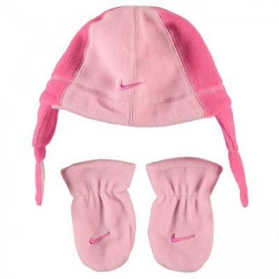 NEW Baby Girls NIKE Beanie & Mittens Set Gloves Winter Hat L Pink 6-12 Months 1