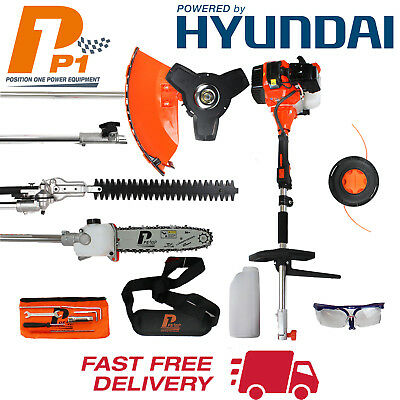Garden Petrol Strimmer Chainsaw Hedge Trimmer Hyundai Engine 5 in 1 - Multi Tool