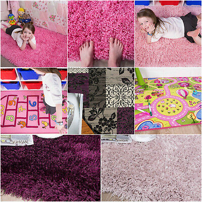 Soft Fluffy Shaggy Baby Pink Purple Cheap Girls Rugs Small Large Nursery New Mat