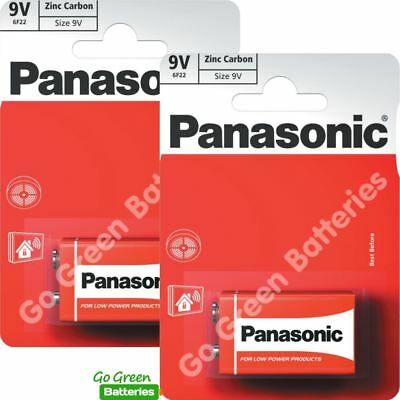 2 x Panasonic 9V PP3 Zinc Carbon Batteries, 9 Volt Smoke Alarms, LR22, MX1604