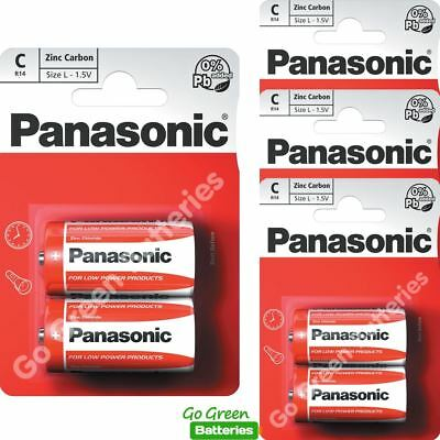 8 x Panasonic C Size Zinc Carbon Batteries R14, MN1400, MX1400, BABY