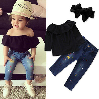 3PCS Toddler Kids Baby Girls T-shirt Tops +Denim Jeans Pants Outfits Clothes Set