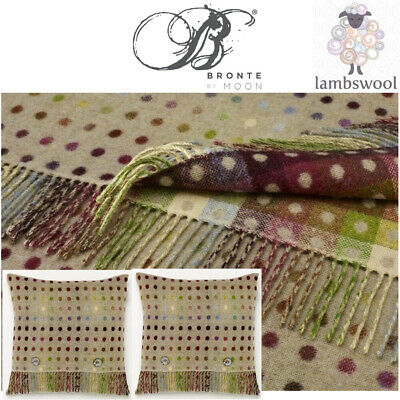 Bronte Pistachio Multi Spot Lambswool Blanket & 2 Feather Filled Cushions Throw