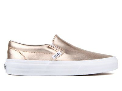 ab74a05a6bc Vans Classic Slip On Metallic Leather Rose Gold Women s 10.5 Skate Shoes New