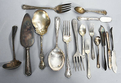 16 Pieces Assorted Old Silver Plated Serving Spoons Pie Server Forks Spreaders