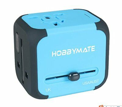 HOBBYMATE International Travel Charger Adapter Dual-USB Wall Charger, Blue NEW
