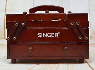 Vintage Wooden Mini Singer Sewing Box Accordion Drawers Thread Spools Fold Out