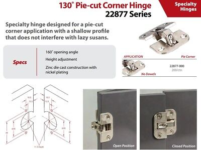 2 Pack Pie-cut Corner Hinge Zinc Die Cast with Nickel Plating 22877-000