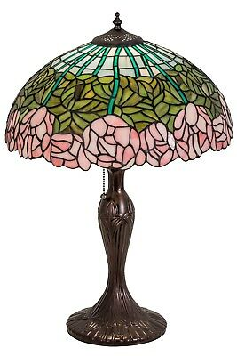 "Meyda Lighting Tiffany Style Stained Glass 23"" Cabbage Rose Flower Table Lamp"