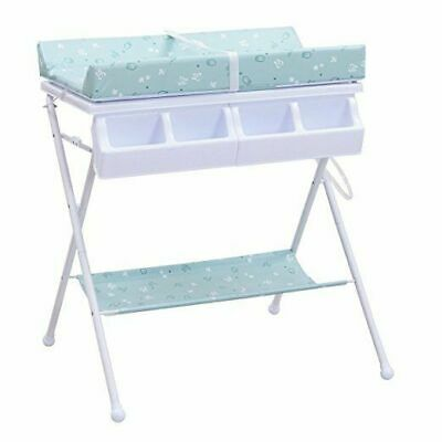 Baby Changing Table, Diaper Station Nursery Organizer, Infant Bath Table with Tu