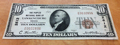 1929 $10 The Peoples National Bank Of Lawrenceburg, Indiana Charter #2612