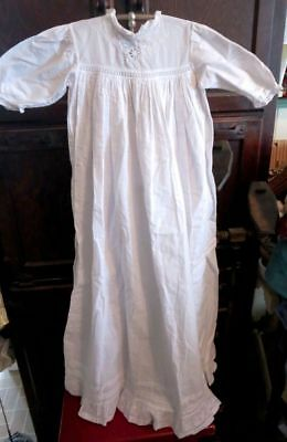 Antique Victorian White Cotton Christening Gown Cotton Eyelet & Embroidery