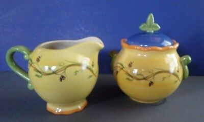 Pfaltzgraff Pistoulet Creamer and Sugar Bowl with Lid