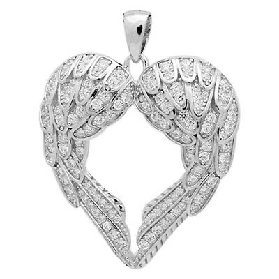 Womens 925 Sterling Silver CZ Micro Pave Love Angel Heart 38mm Pendant