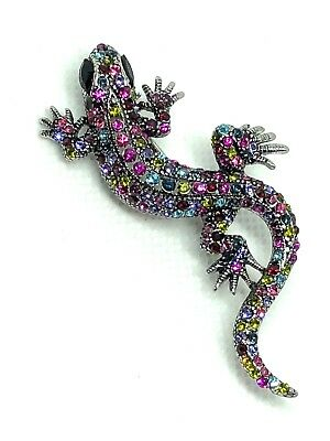 "GECKO Brooch pin multi color rhinestone silver tone 2""x1"" GIFT mothers day #1"
