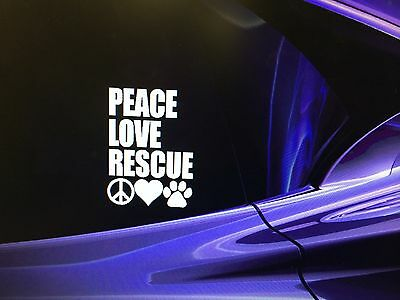 """""""PEACE LOVE RESCUE"""" Adopted Rescue Dog Window Decal Sticker 4.5""""x5.5"""""""