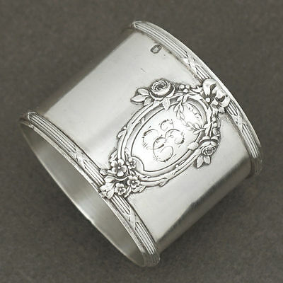 Antique French Sterling Silver Napkin Ring Applied Medallion Cartouche & Florals