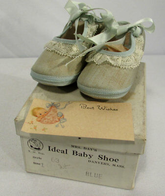 Vintage Mrs. Day's Ideal Baby Shoes Blue Fabric Washable Size 1
