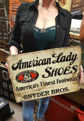 Orig Early Vintage AMERICAN LADY SHOES Advertising Sign Hamilton Brown Shoe Co